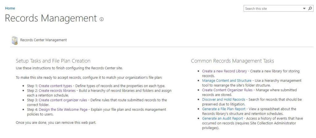 Records Center Configuring Record Center