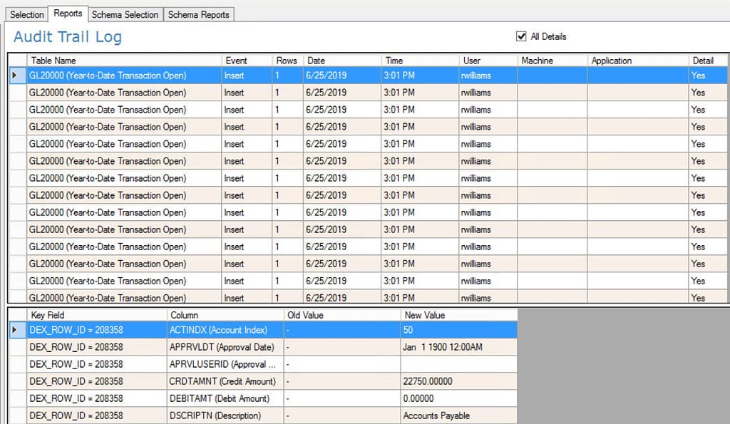screenshot of fastpath audit trail