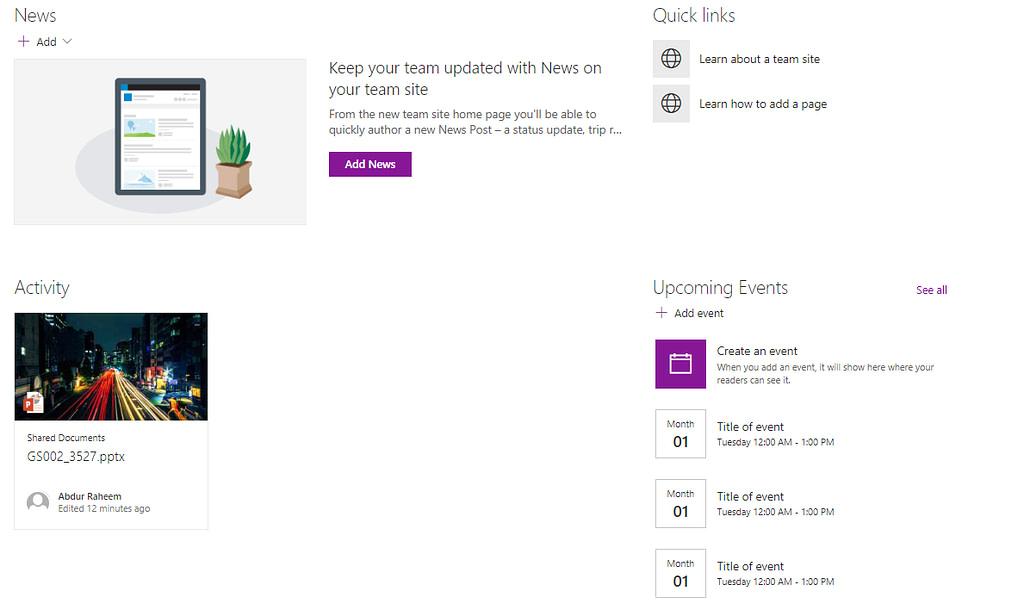 Modern Team Sites Web Parts image
