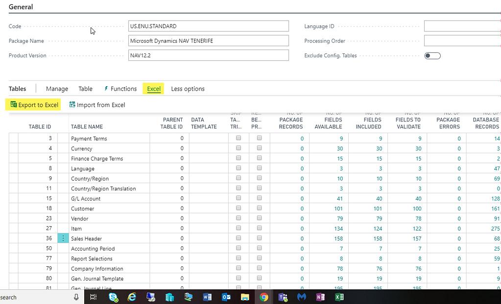 D365 Configuration List Export Excel