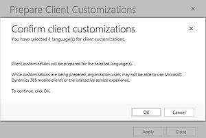 Confirm client customizations dynamics 365