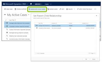Microsoft Dynamics CRM Parent Child Cases