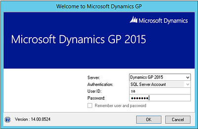 Microsoft Dynamics GP 2015 Login Window