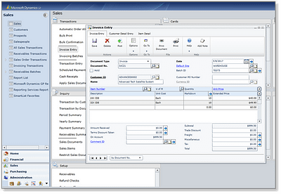 Dynamics GP 2015 - Invoicing for Web Client