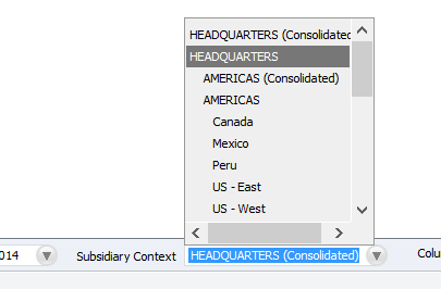 NetSuite Subsidary Contexts