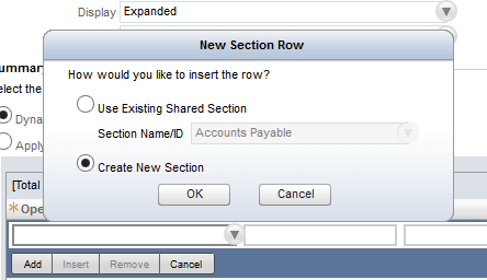 NetSuite New Section Row