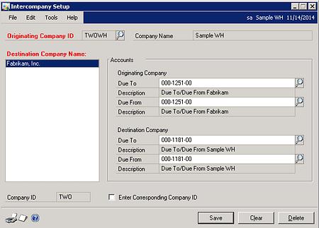 Intercompany Setup Dynamics GP
