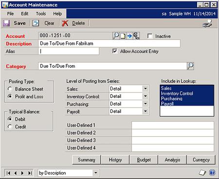 Account Maintenance Dynamics GP
