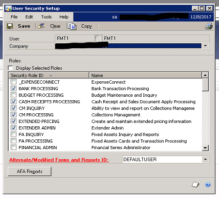 create new companies with existing setups in GP-user security set-up