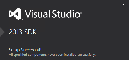 Visual Studio 2013 SDK Successful Installation