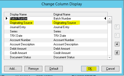 GP Change Column Display