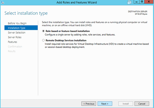 Roles Features Wizard Installation Type