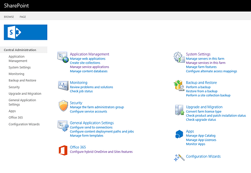 SharePoint Central Admin