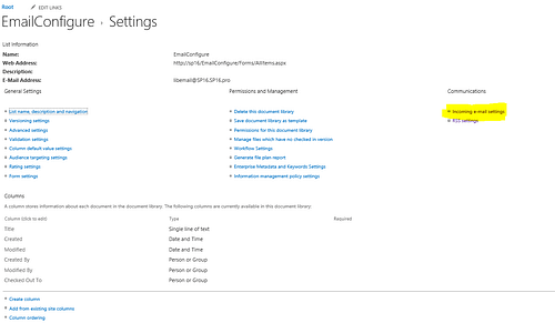 SharePoint Email Configurationh