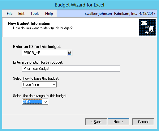 Dynamics GP Budget Wizard for Excel
