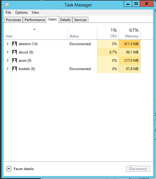 Remote Desktop Services Task Manager Users Tab