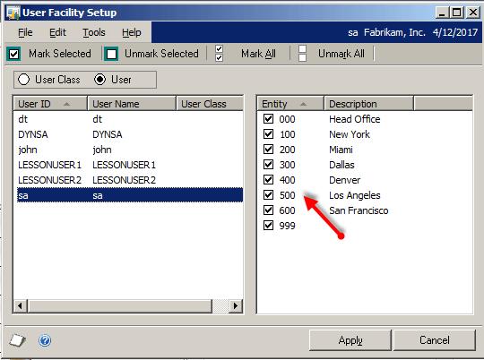 User Facility Setup