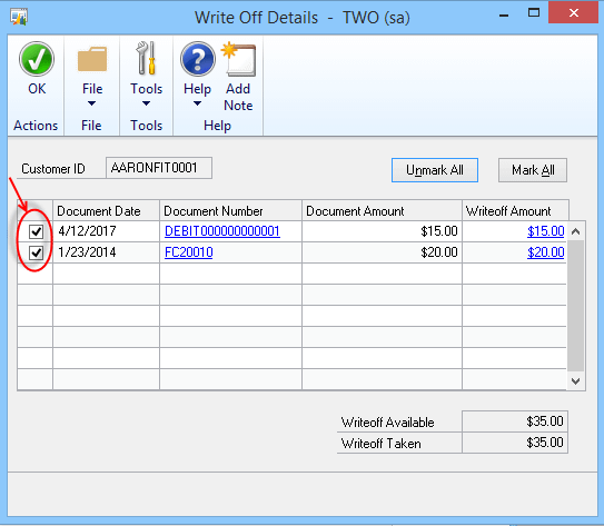 Dynamics GP Write Off Details
