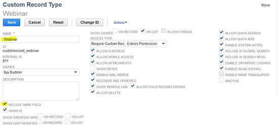 NetSuite Custom Record Type