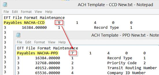 ACH Template Dynamics GP