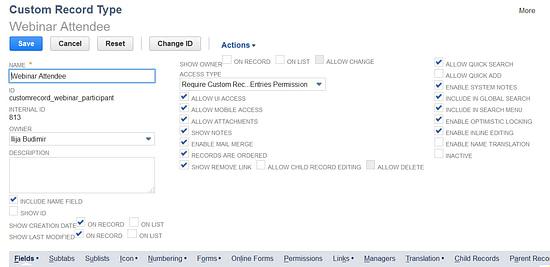 NetSuite Custom Records