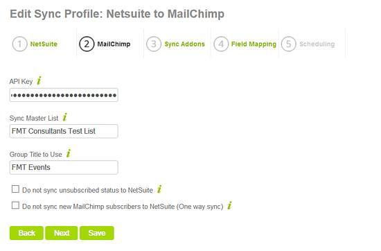 NetSuite to MailChimp Setup