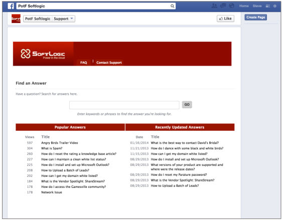 Microsoft Dynamics CRM Parature Facebook Portal