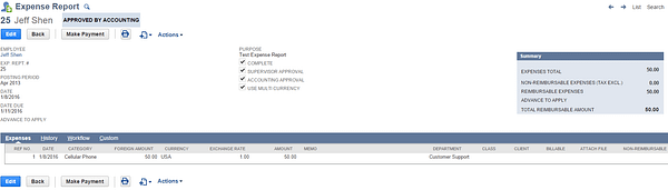 NetSuite Created Expense Report