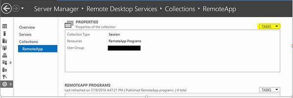 Remote Desktop Services Server Manager Properties