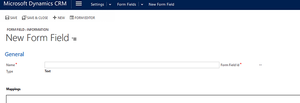 Dynamics CRM - ClickDimensions New Form Field