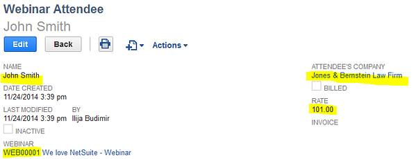 NetSuite Webinar Attendee