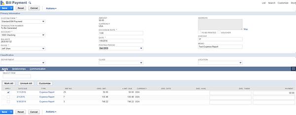 NetSuite Bill Payment
