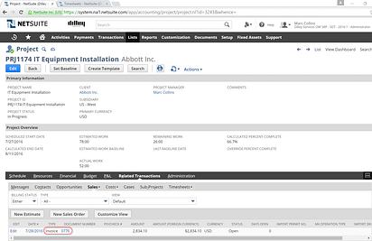 NetSuite Invoice