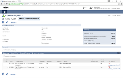 NetSuite Expense Report