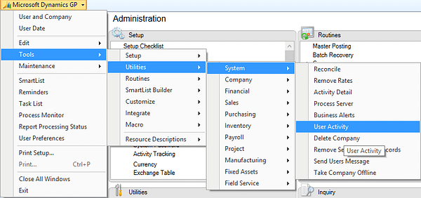 Dynamics GP User Activity Window