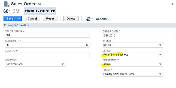 NetSuite Sales Order