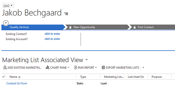 Dynamics CRM - ClickDimensions Marketing List