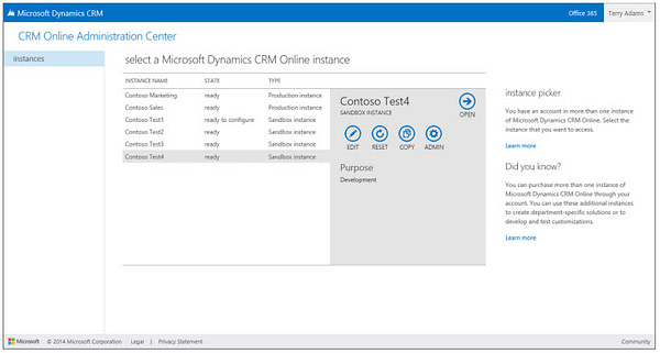 Microsoft Dynamics CRM Online Admin Center