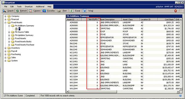 Microsoft Dynamics GP - GL Integrations to Fixed Asset