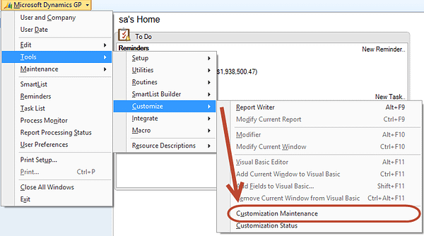 Dynamics GP Customization Window