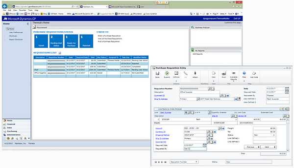 Dynamics GP 2015 - Employee Self Service - Purchase Requisitions