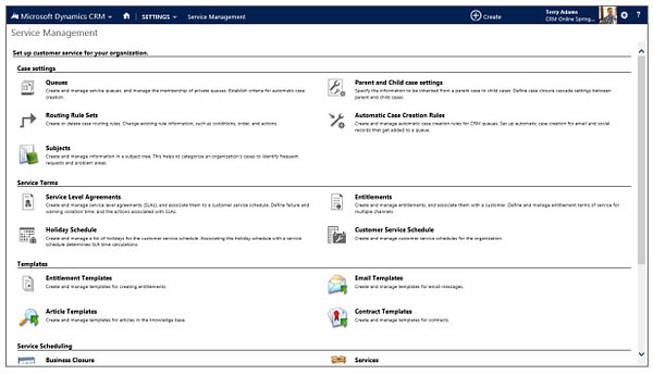 Microsoft Dynamics CRM Service Management