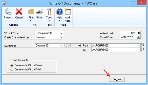 Write Off Documents In Dynamics GP