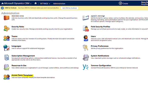 Dynamics CRM Access Teams Template