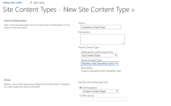 New Site Content Type