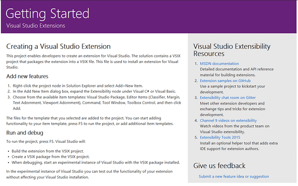Visual Studio Getting Started Page