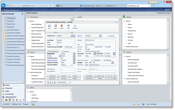 Dynamics GP 2015 - Canadian Payroll for Web Client