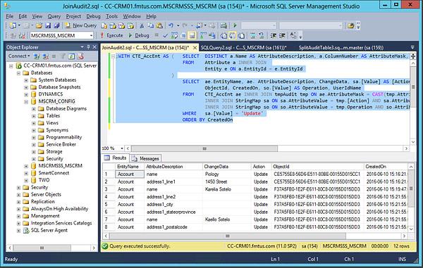 CRM SQL Join Data Result