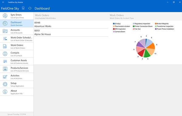 Dynamics Field Service Mobile Application Dashboard