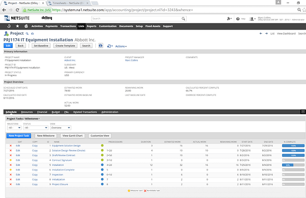 NetSuite Project Record